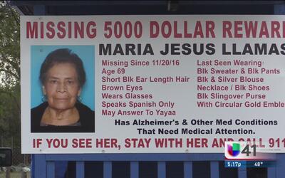 Familiares continúan la búsqueda de Maria Llamas