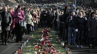 El centro de Kiev, donde murieron 82 personas en los enfrentamientos, se...