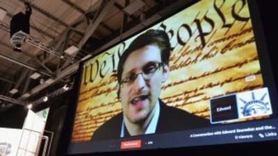Snowden dio una teleconferencia desde Moscú para un evento en Austin, Te...