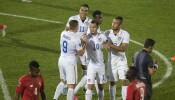 Estados Unidos festeja uno de los goles ante Panamá.