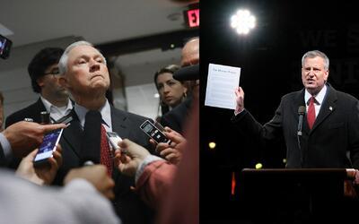 Crece la tensión entre Jeff Sessions y Bill de Blasio