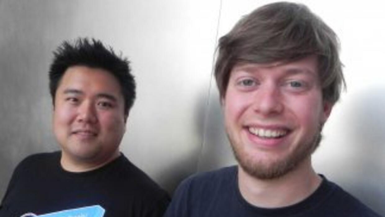 Christian Springub, cofundador y CEO de Jimdo, y Powen Shiah, gerente de...