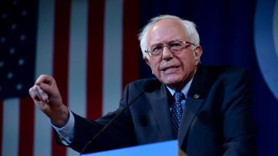 El precandidato demócrata Bernie Sanders en un evento en New Hamp...