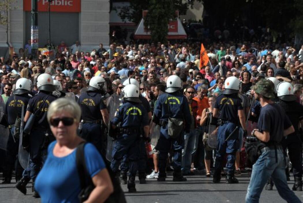 A la manifestación central en Atenas acudieron 45 mil personas, según la...