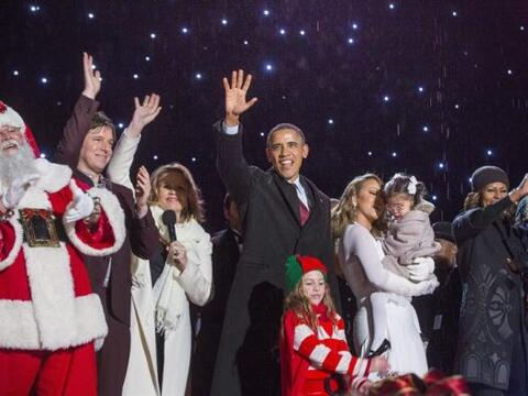 El presidente de EEUU, Barack Obama, participó junto a su familia en el...