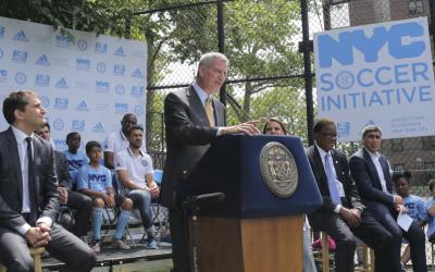 Bill de Blasio, alcalde de Nueva York, presidió el evento.