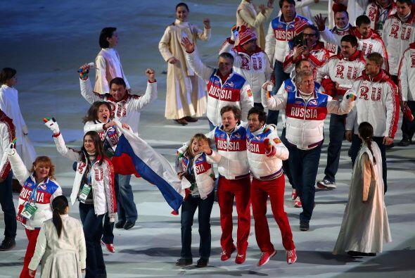 La entrada de la selección rusa, en la tradicional parada de los deporti...