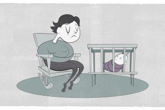 El estigma que rodea a la depresión postparto impide buscar ayuda. Ilust...