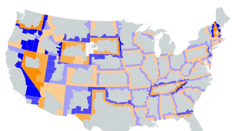 Comparación de impuestos en fronteras de estados (altos impuestos en azu...