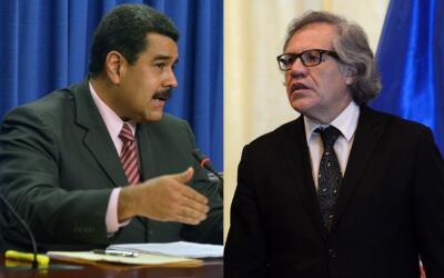 Nicolás Maduro (i) y Luis Almagro (d).