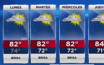 Cielo parcialmente nublado y con bastante viento para este lunes en Miami
