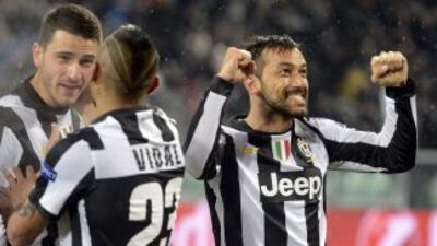 Quagliarella, autor del sgeundo gol de la 'Juve', festeja.