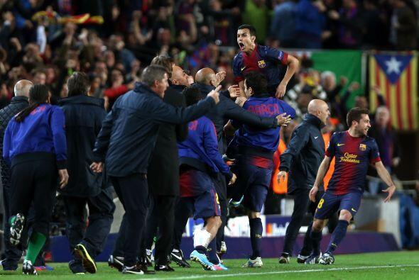 Todo el Barcelona festejaba una jugada perfecta, que inició Messi...