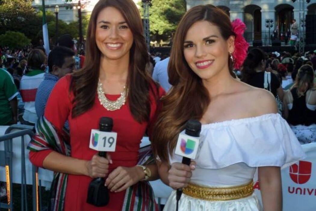 Karina Banda y Bianca Graulau saludando a nuestros televidentes