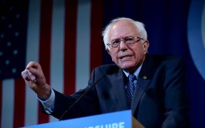 El precandidato demócrata Bernie Sanders en un evento en New Hampshire.