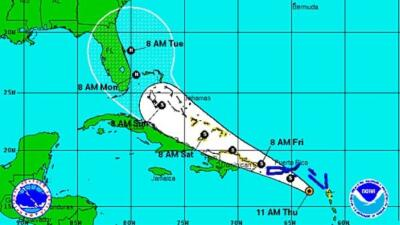 Erika viene rumbo a Puerto Rico