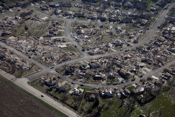 Vista aérea de la destrucción causada en Washington por lo que ha sido c...