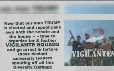 Volantes publicados por simpatizantes de Trump en la universidad Texas S...