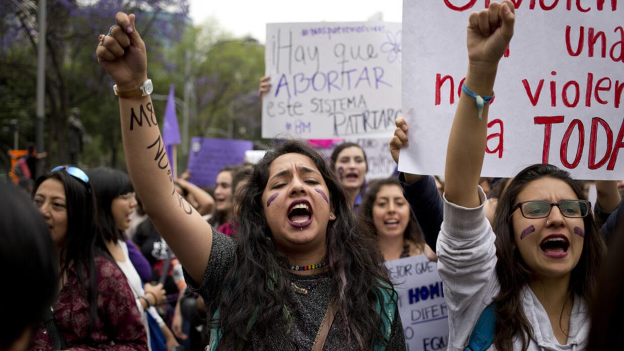 A demonstration marking International Women's Day in Mexico City.