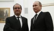 Francois Hollande y Vladimir Putin en Moscú.