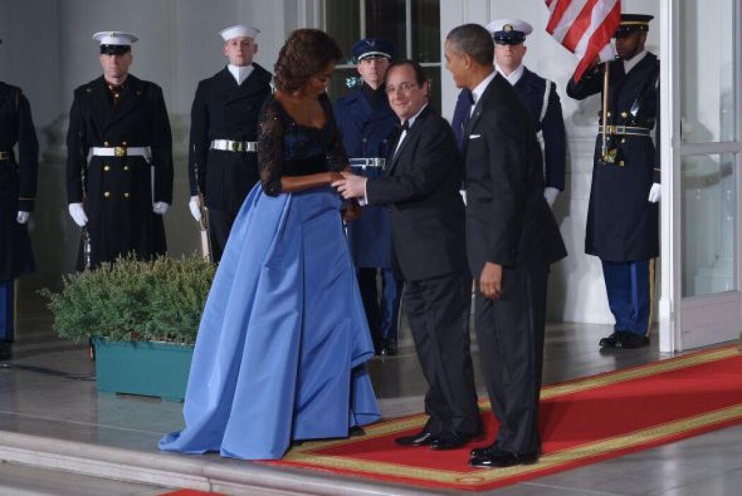 Durante la visita del presidente de Francia a la Casa Blanca, Michelle n...