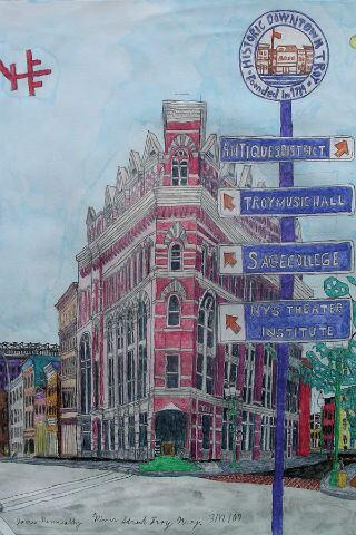 """James Kenneally, """"River Street, Troy, NY""""  -""""Drawing Autism""""es una inc..."""