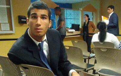 Marco Coello minutes before his arrestduring an asylum interview with im...