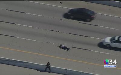 Sospechoso huyó de la policía a pie en plena autopista