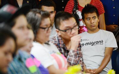 Un grupo de dreamers asisten en Los Angeles, California, a un seminario...