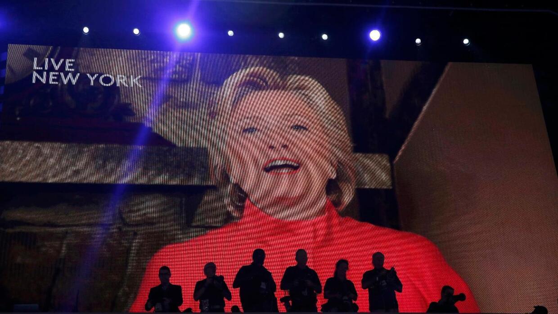 Hillary Clinton en su aparición en video en la Convención.
