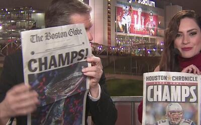 La victoria de Patriots en el Super Bowl LI, portada de varios diarios d...