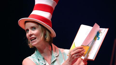 Actress Cynthia Nixon reads from the Dr. Seuss book 'Green Eggs and Ham'...