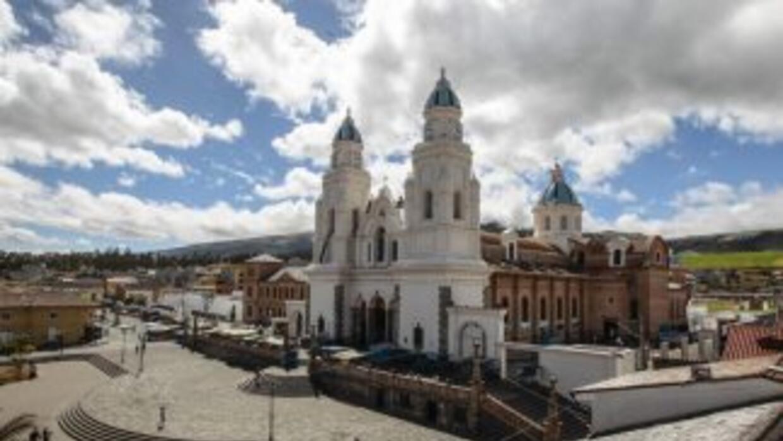 Vista de la Iglesia del Quinche, Ecuador.