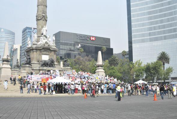 Al final de su marcha, el punto de reunión fue el monumento Ángel de la...