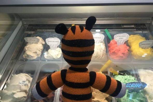 ¡Parece que al tigre de felpa le gustan el gelato!