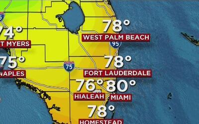 Baja probabilidad de lluvia y tiempo mayormente despejado en Miami