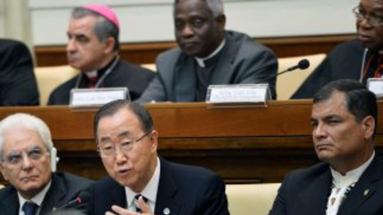 El Secretario General de las Naciones Unidas Ban Ki-moon habla en la con...