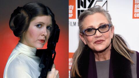 El personaje Princesa Leia, la actriz Carrie Fisher.