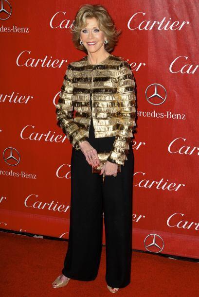 El dorado fue el mejor acompañante en el 'look' de Jane Fonda. Esta muje...