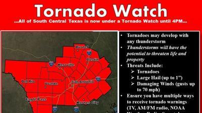 El Servicio Meteorológico Nacional libró una alerta de tornado para vari...