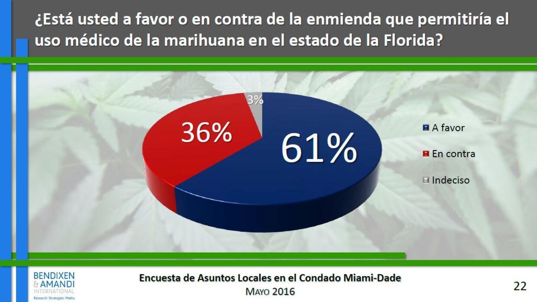 Resultados sobre la enmienda que legalizaría la marihuana medicinal en F...