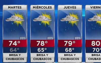 Cielo mayormente nublado, lloviznas y vientos para este martes en Miami