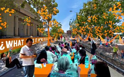 Un render del Okuplaza en Unity Park.