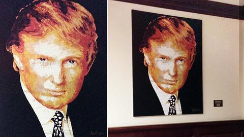Trump's painting that he bought with charity money hanging in one of the...