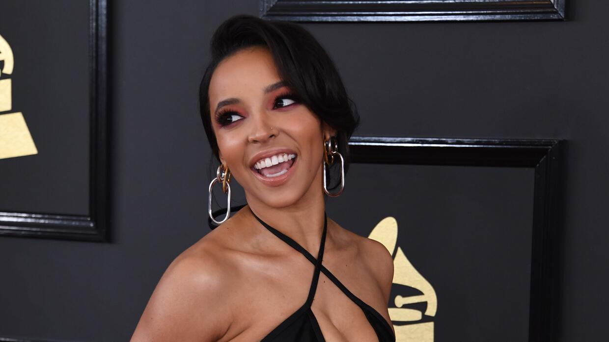 Tinashe arrives for the 59th Grammy Awards pre-telecast on February 12,...