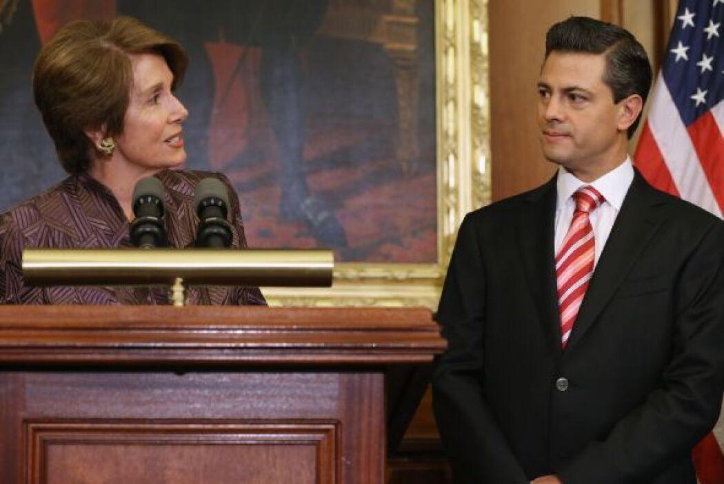 Dirigiéndose a Peña Nieto, Pelosi destacó la necesidad de que ambos país...
