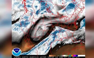 Imagen de la nubosidad sobre EEUU el 18 de enero de 2017 en la que se ve...