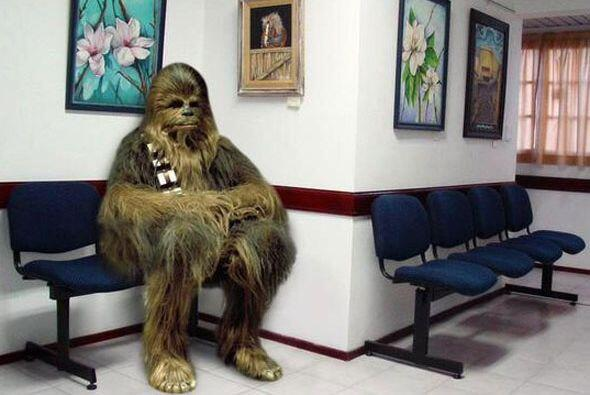 El pobre Chewbacca esperando noticias en la sala de espera del hospital.