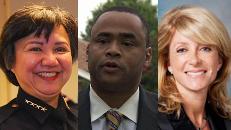 La Alguacil Lupe Valdez, la Senador Wendy Davis y el Congresista Marc Ve...