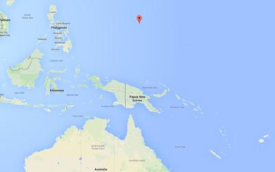 Mapa con la ubicación de la isla de Guam.